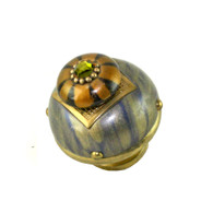 Nu Tiki Striped deep opal  1.5 Inches with gold metal details and olivine crystal.