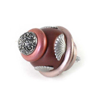 Wall hook Round tudor 2 in. diameter in agate and coral with silver metal details