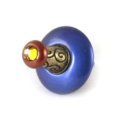 Wall hook Hat 2 in. diameter in lapis and copper with gold metal details and swarovski topaz crystal