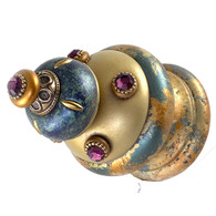 Jumbo Finial Isabella in light gold and turquoise has gold metal details and amethyst crystals.