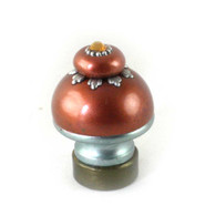 Lamp Finial Lily in copper and deep opal  with silver metal details and Swarovski topaz crystal.