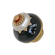 Nu Dahlia black and Alabaster knob 1.5 in. diameter with gold metal accents and smoke topaz crystal