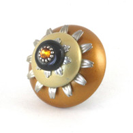 Mini Sunflower Deep Gold knob 2 inches diameter with silver metal details and topaz crystal