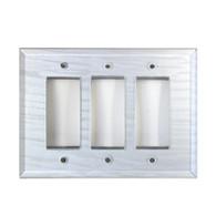 Silver Glass Triple Decora Switch Cover