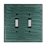 Glass Double Toggle Switch Cover Aqua
