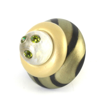 Congo light jade knob 2 in.diameter with olivine crystals