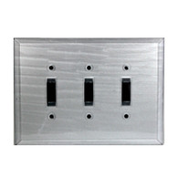 Silver Glass Triple Toggle Switch Cover