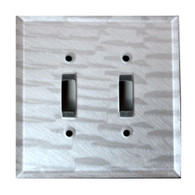 Silver Glass double toggle switch cover