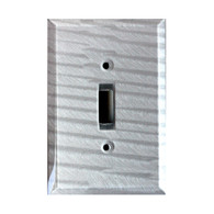 Silver Glass Single Toggle Switch Cover
