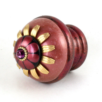 Finial Poppy in coral and ruby with gold metal accents and amethyst crystal