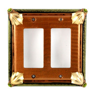 Cleo double decora switch cover in amber and jade with gold metal accents and olivine crystals