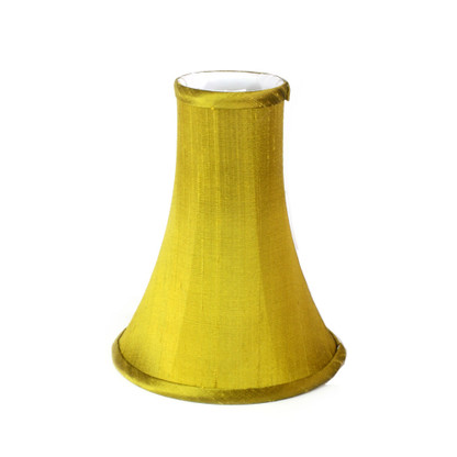 Slender bell lamp shade in dupioni silk nugget