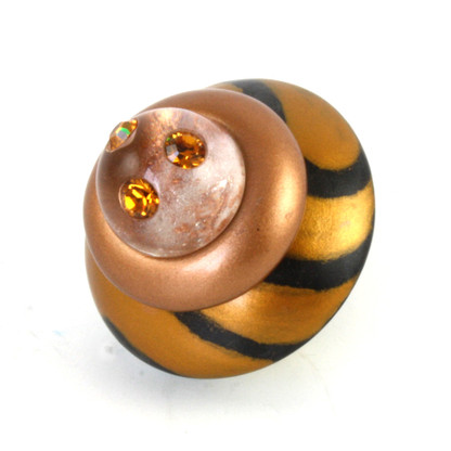 Congo Light knob deep gold 2 in diameter with topaz crystals
