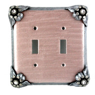 Bloomer Double toggle switch cover with silver metal details and crystal.