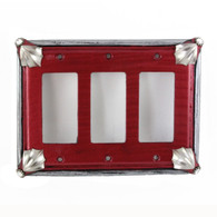 Cleo Triple Decora Switch cover in ruby with silver metal details and crystal.