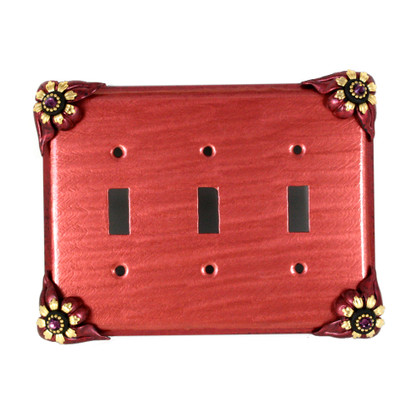 Bloomer Poppy Triple Toggle Switch plate
