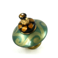 Mini Carnival Knob Emerald 2 Inches Diameter with gold metal accents