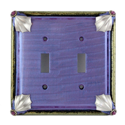 Cleo double toggle switch plate in periwinkle with silver metals and amethyst crystals.