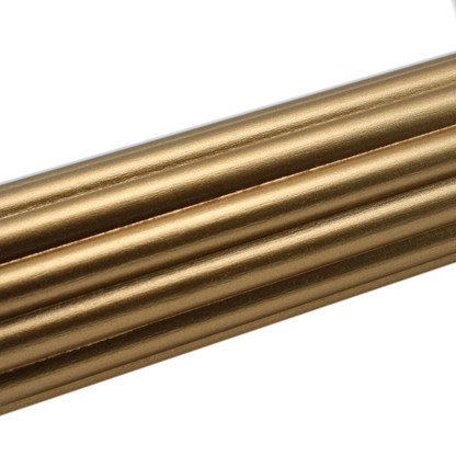 Wooden Reeded  Rod in gold paint finish 1 3/8 inch diameter