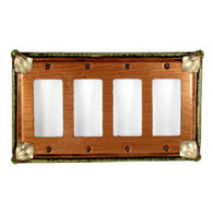 Cleo amber quad decora switch cover with gold metal details and olivine crystals.