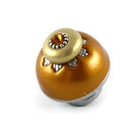 Nu Sunflower Knob deep gold 1.5 inches diameter has silver metal details and topaz crystal