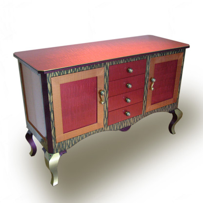Bolero 4 drawer 2 door dresser with ruby paint finish