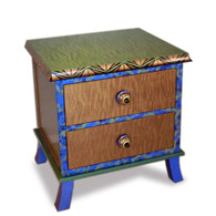 Rumba 2 Drawer End Table Nightstand with Amber and Emerald Paint Finish