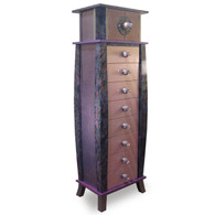 Tango Tower 8 drawer with Cubby Storage Compartment in soft shell and mauve paint finish