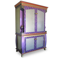 Ritz 2 piece entertainment unit in deep opal and periwinkle paint finish.