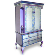 Diva Armoire Storage and media cabinet in light aqua and periwinkle paint finish