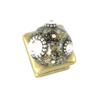 Petit Square #6 knob in light gold with silver metal details and crystals