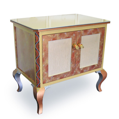 Jitterbug end table with doors in light bronze, amber and light gold paint finish