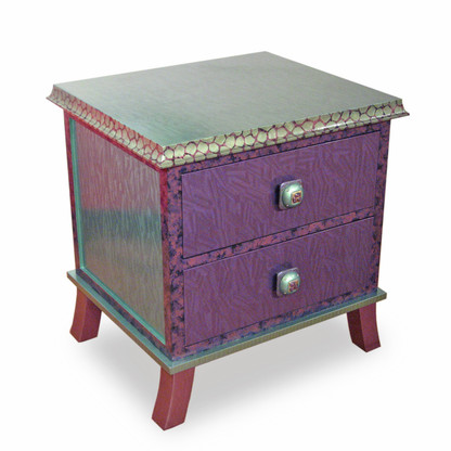 Rumba 2 Drawer End Table Nightstand with Emerald and Mauve Paint Finish