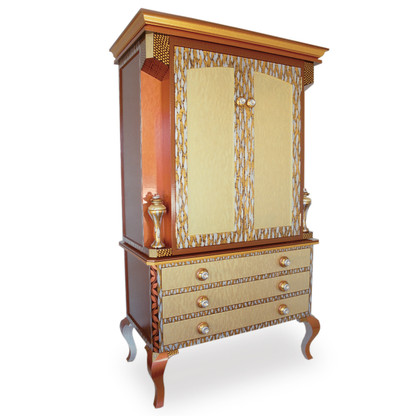 Diva armoire storage and media cabinet in tigress light gold, copper and silver paint finish