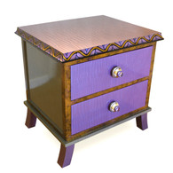 Rumba 2 end table nightstand has periwinkle and mauve paint finish