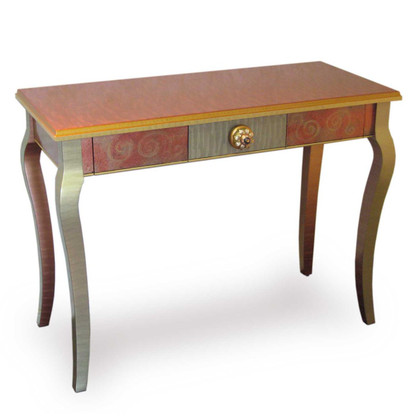 Mambo console table with one drawer in copper and deep opal paint finish