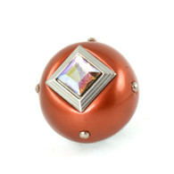 Nu Mini Style #8 knob Copper 1.5 inches diameter with silver metal accents and AB crystal.
