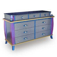 "Barcelona Dresser shown in deep opal with custom 5"" Orbit Pulls and 2 inch Diameter Knobs"