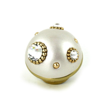 Nu Mini Style 6 Alabaster 1.5 in. diameter with gold metal details and Swarovski crystals.