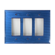Lapis Glass Triple Decora Rocker Switch Cover