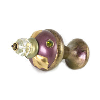 Jumbo Finial Jumbo Birdie in amethyst and jade with gold metal accents and olivine crystals.
