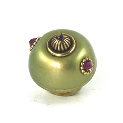 Nu Mini Style 1 Jade 1.5 inches diameter with gold metal details and amethyst crystals