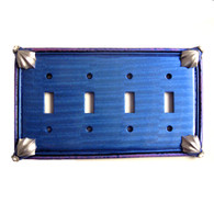 Cleo Quad Toggle Switch Cover in Lapis with silver metal details and crystal.