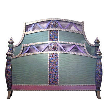 Barcelona High foot Board bed with paint finish in turquoise and shell pink