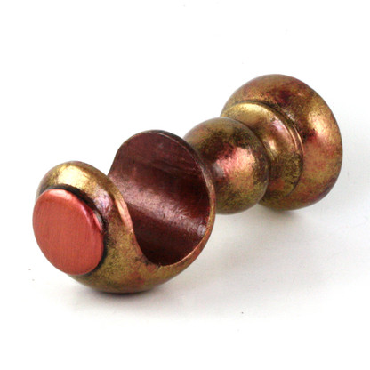 "SMALL WOOD CUP BRACKET CORAL IN GOLD STIPPLE PAINT FINISH WITH CORAL AND AGATE ACCENT COLORS  IS SUITABLE FOR DRAPERY rods 1 3/8"" DIAMETER."