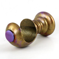 """Large cup bracket in gold stipple paint finish with peeks of ruby and  periwinkle accent colors is suitable for rods 2"""" diameter."""