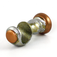 "SMALL CUP BRACKET IN SILVER STIPPLE PAINT FINISH WITH AMBER AND JADE ACCENT COLORS IS SUITABLE FOR RODS 1 3/8"" DIAMETER."