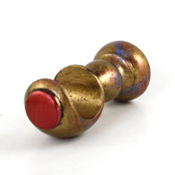 "SMALL WOOD CUP BRACKET RUBY IN GOLD STIPPLE PAINT FINISH WITH RUBY AND LAPIS ACCENT COLORS  IS SUITABLE FOR DRAPERY rods 1 3/8"" DIAMETER."