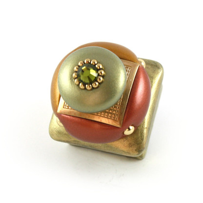 Duo Square Knob Copper 1.25 Inches with gold metal details and olivine crystal.