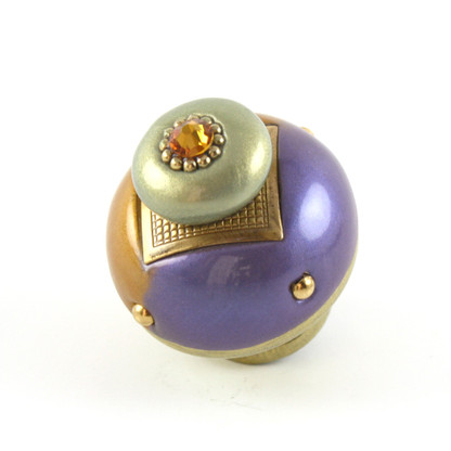Nu Duo Knob Periwinkle 1.5 Inches Diameter has painted gold stem to coordinate with metal details.